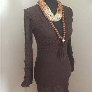Boho brown gauze and lace dress